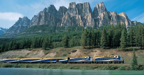 Rocky Mountaineer and Castle Mountain - Banff National Park